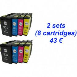 2 Kits HP932 XL Noire - 933...
