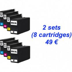 2 Kits HP950 XL Noire - 951...